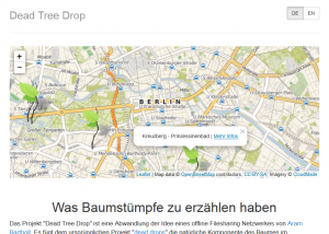 "Screenshot of the interactive map of the ""Dead Tree Drop"" project."